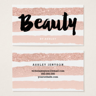 Beauty artist modern typography rose gold stripes