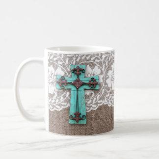 Beauty for Ashes Cross Burlap Lace Christian Mug