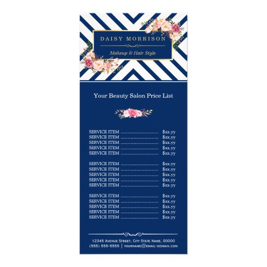 Beauty Hair Salon Floral Navy Stripes Price List Rack Card