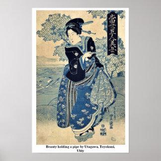 Beauty holding a pipe by Utagawa, Toyokuni,  Ukiy Print