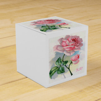 Beauty Rose Pink on Gray Monogram Gift Box Classic Wedding Favour Boxes
