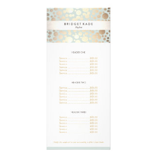 Beauty Salon Gold Light Blue Circle Pattern Menu Customized Rack Card