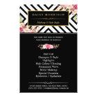Beauty Salon Vintage Floral Black White Stripes Flyer