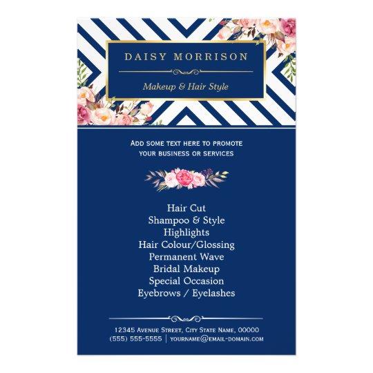 Beauty Salon Vintage Floral Navy Blue Stripes Flyer