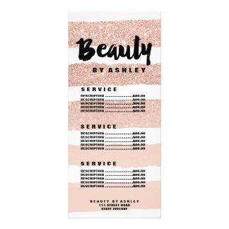 Beauty typography rose stripe gold price list side custom rack cards