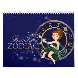 Beauty zodiac signs  plus elements  symbol chart wall calendar