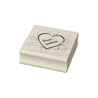 Because Heartstrings Heart Wood Art Stamp