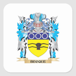 Becque Coat of Arms Square Stickers