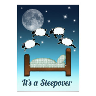 Bed, Sky, and Counting Sheep at Night Sleepover Invitation