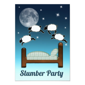 Bed, Sky, & Counting Sheep at Night Slumber Party Invitations