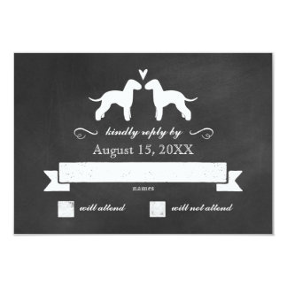 Bedlington Terrier Silhouettes Wedding Reply RSVP Card