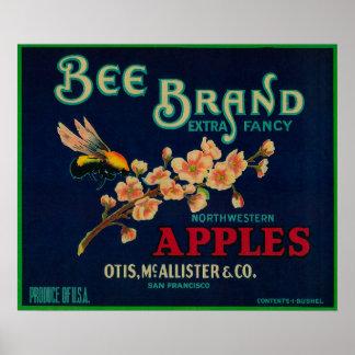 Bee Apple Crate Label Print