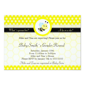 Bee Baby Shower Gender Reveal Polka Dot 13 Cm X 18 Cm Invitation Card