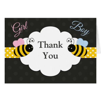 Bee Gender Reveal Thank You Card