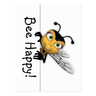 Bee Happy Post Card - Honey Bee Postcard