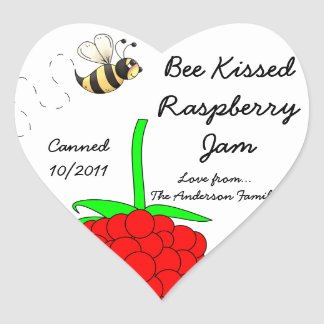 Bee Kissed Raspberry Jam Jar Label (Customize) Heart Sticker