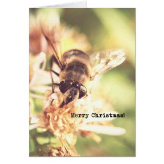 Bee Merry Christmas Vintage Look Photo Greeting Card