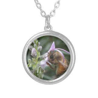 Bee on Flower Silver Plated Necklace