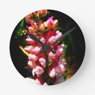 Bee on Lupins- Print by J O'Reilly Round Clock