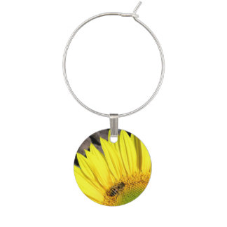 Bee On Sunflower Close Up Photograph Wine Charm