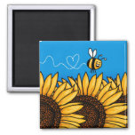 bee trail sunflower magnet