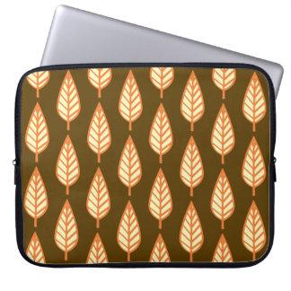 Beech leaf pattern - Orange and brown Laptop Computer Sleeves