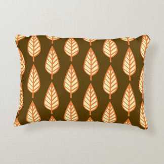 Beech leaf pattern - Orange and brown Accent Pillow