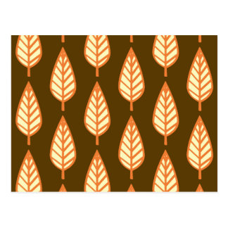 Beech leaf pattern - Orange and brown Post Card