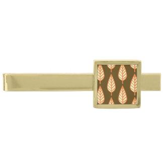 Beech leaf pattern - Orange and brown Gold Finish Tie Bar