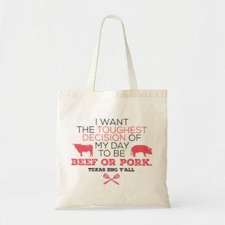 Beef or Pork? Texas BBQ Tote Bag