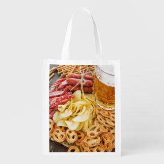 Beer And Snacks 2 Reusable Grocery Bag
