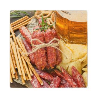 Beer And Snacks Wood Coaster