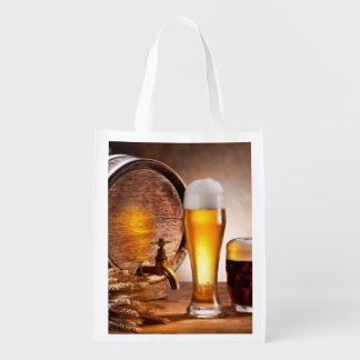 Beer barrel with beer glasses on a wooden table 2 reusable grocery bag