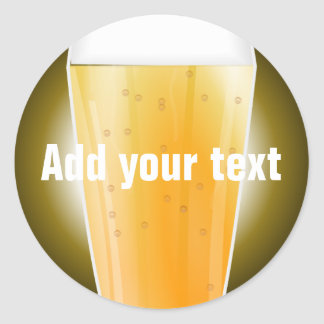 Beer Glass Background for Custom Text Classic Round Sticker