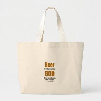Beer is living proof ... large tote bag