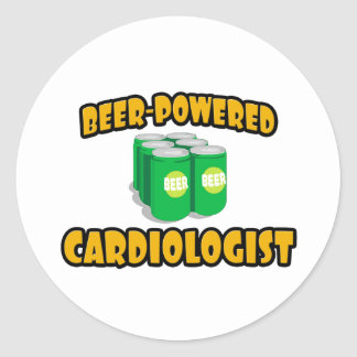 Beer-Powered Cardiologist Round Stickers