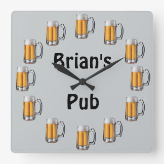 Beer Pub Wall Clock to Personalize
