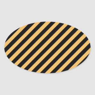 Beeswax Color And Oblique Black Stripes Pattern Oval Sticker