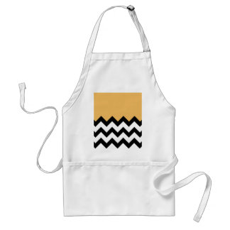 Beeswax Orange Yellow On Black & White Chevron Aprons