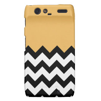 Beeswax Orange Yellow On Black & White Chevron Motorola Droid RAZR Case