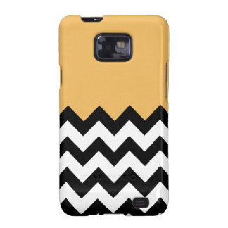 Beeswax Orange Yellow On Black & White Chevron Samsung Galaxy SII Case