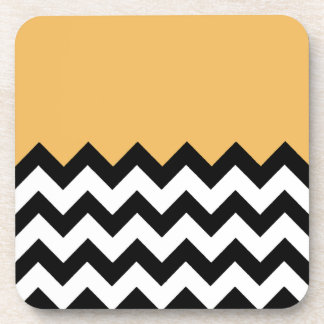 Beeswax Orange Yellow On Black & White Chevron Coaster