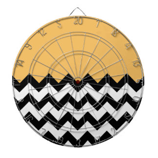 Beeswax Orange Yellow On Black & White Chevron Dartboard With Darts