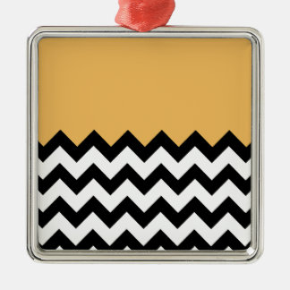 Beeswax Orange Yellow On Black & White Chevron Christmas Tree Ornaments