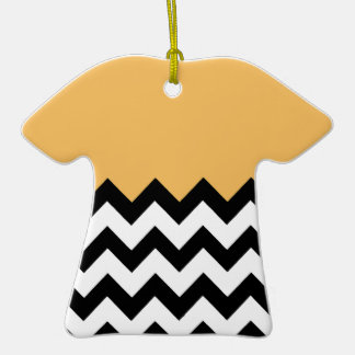 Beeswax Orange Yellow On Black & White Chevron Christmas Tree Ornament