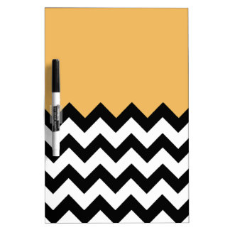 Beeswax Orange Yellow On Black & White Chevron Dry Erase Whiteboards
