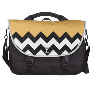 Beeswax Orange Yellow On Black & White Chevron Laptop Commuter Bag