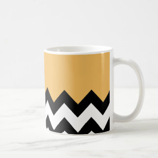 Beeswax Orange Yellow On Black & White Chevron Coffee Mug