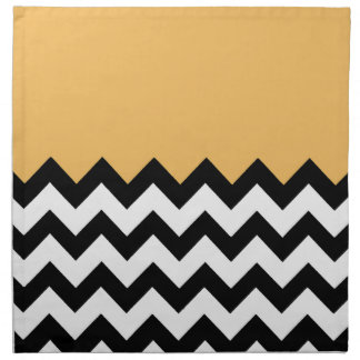 Beeswax Orange Yellow On Black & White Chevron Napkin