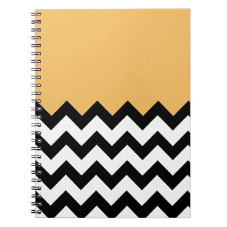 Beeswax Orange Yellow On Black & White Chevron Journal